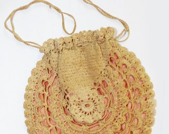 Antique Crocheted Handbag Lined - 452