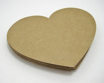 Kraft Paper Heart Cutouts-DIY Crafts-Rustic Party Decorations-Bridal Shower Advice Cards-Scrapbook Cutouts-4 Inch Paper Heart Embellishments