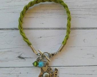 Golf Charm Bracelet// Custom Girl's Sports Bracelet// Golf Gift// Golf Mom// Golf Coach// Choose Cord Color & Crystal Color
