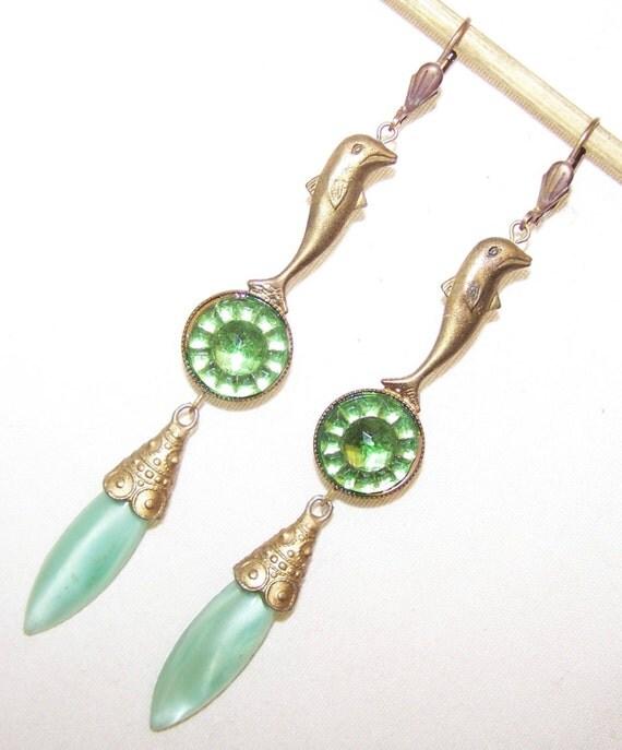 Vintage Czech Art Deco green blue glass dropper earrings with dolphins