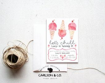 Ice Cream Invitation | Ice Cream Birthday Invitation | Ice Cream Party -- 5x7 Digital Printable