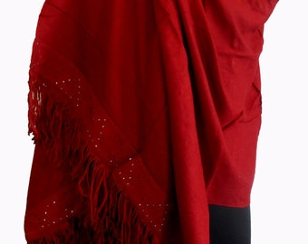 Real KASHMIR SILK PASHMINA Stole. Handmade & Handloomed with 80% Natural Cashmere Blended with Silk. Crystal Studded Sued Leather Border.
