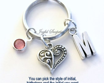 Heart Keychain, Heart Key Chain Valentines Day Mothers Day gift Daughter Silver Filigree Love keyring Initial birthstone purse charm 217