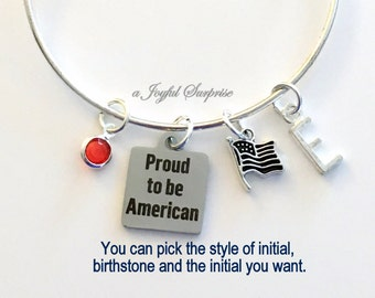 USA New Citizen Gift, Proud to be American Bracelet Gift for Refugee New Home America Jewelry Charm Bangle Silver initial Birthstone Present