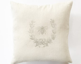 Honey Bee & Laurel Wreath French Grain Sack Pillow Cover -  cotton canvas