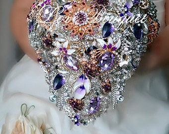 lavender Cascading Brooch bouquet, Lilac and Silver Gold Wedding Brooch Bouquet, Bridal Bouquet, Jewelry Bouquet, Rhinestone Wedding bouquet