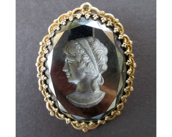 Black Cameo Pin/ Pendant * Reversed Carved INTAGLIO * Gift For Her