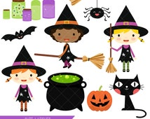 Cute Witch Clipart / Halloween Witches