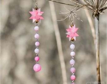 Cotton candy - origami pink-white star with frosten pink agate beads.