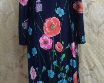 1970s Blue Floal Print Maxi Dress