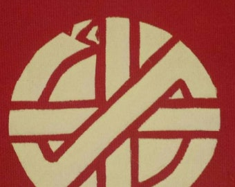 Crass patch red fabric hand made screen printed design