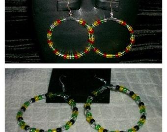 Handmade Jamaican/Rasta color hoop earrings