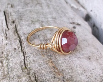 Wire Wrapped Ring, Red Faceted Glass Bead Ring, Copper Wire Wrapped Ring, Red Glass Bead Ring