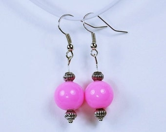 Earrings with pink pink beads and Silver earrings - unique - pink Kiss