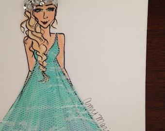Lace to the Ball, Fashion Illustration ORIGINAL