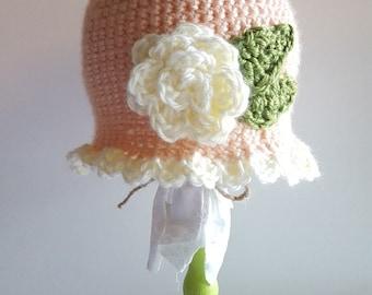 Vintage Rose Crochet Hat - Newborn, Baby, Child's, Photography Prop, Girl, Rose, Garden, Bonnet, Ruffle, Peach