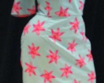 Hawaiian Pin up 1950's style wiggle dress handmade sizes 6=26