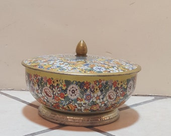 yellow floral tin container
