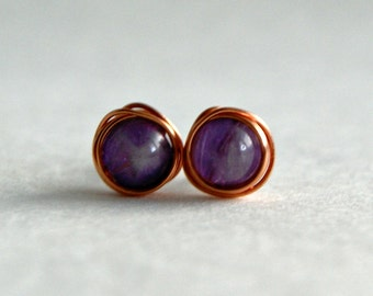 6mm Amethyst & Copper Stud Earrings, Copper Earrings, Gemstone Earrings, February Birthstone, Birthstone Earrings, Boho, Hippie, Delicate