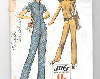 Vintage 1970's Simplicity 9142 Jiffy Jumpsuit Sewing Pattern Size 10 Bust 32 1/2""