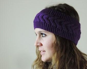 Purple Knit Headband, Cable Knit Headband, Ear Warmer, Winter Hairband, Purple Knitted Headband, Chunky Headband