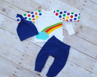Boy Outfit - Baby 3 piece Set - Boy Pant Set - Take Home Boy Outfit - Newborn Set - Baby Shower Gift- Rainbow Outfit - Rainbow Baby Set
