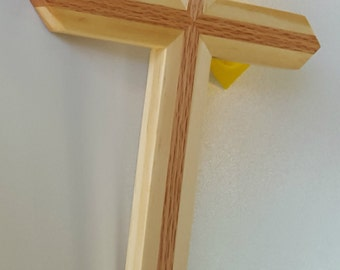 Wood wall cross made of red oak and pine. handmade wooden cross, wood cross, large