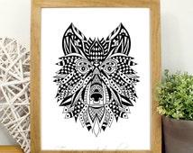 Black and White Print, Wolf Tribal Art- Wolf Print- Black and White Wolf- Geometric Tribal Art- Woodland Animals Black and White Wolf Print
