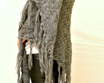Grey Knitted Scarf,Chunky Scarf,Oversized Scarf,Long Scarf,Warm Infinity Scarf,Winter Accessories
