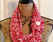 Red and White Button Scarf (Fringe, Crochet, or Infinity Scarf) - Detroit Red Wings, Cincinnati Reds, Liverpool FC, Temple Owls