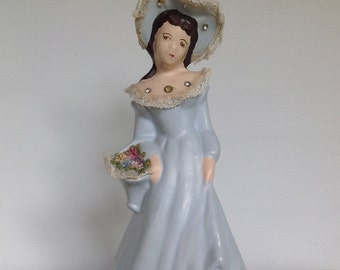 Chalkware, Vintage, 1950s, Vintage Chalkware, Victorian Lady, Woman, Figurine, Chalkware Lady, Home Decor, Statue, Lady, Southern Belle