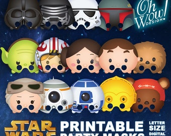 Star Wars Tsum Tsum Character Party Masks: Letter Size Print Files