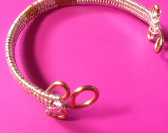 Two Tone Wire Woven Bangle Bracelet