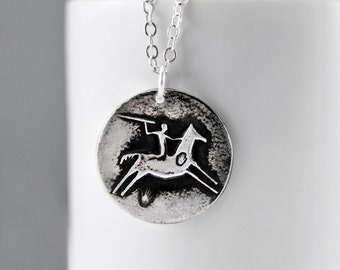 Horse Necklace - Sterling Silver Petroglyph Pendant - Spirit Horse - Native American Style Rock Art Necklace- Horse Jewelry