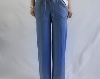 READY The Pant: Women's linen drawstring pant, color Blue, size Small