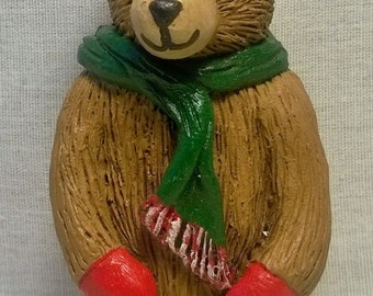Handpainted Christmas Bear with Scarf