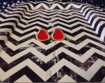 Red Heart Hottie~Vintage~Red Heart Earrings~Metal~Enamel~Post