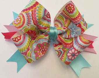 Colorful Swirls and Flowers Bow #AB116