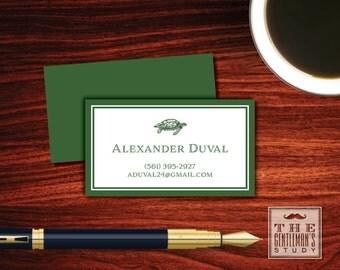Sea Turtle Calling Cards - Nautical Personal Contact Cards - Masculine Business Card - Loggerhead Sea Turtle - Beach Theme Business Card