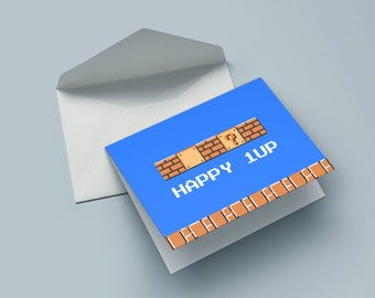 Happy 1UP - the birthday card for nerds, geek & gamer