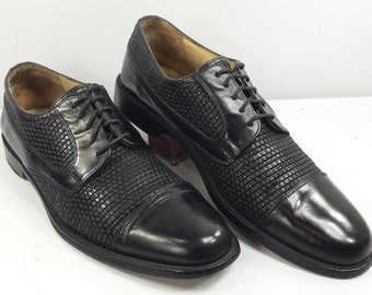 Vintage Johnston & Murphy Handcrafted Woven Oxford Shoes Black Cap Toe Italy EUC! Size 10.5