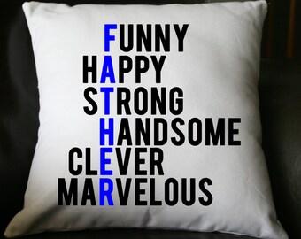 Father's Day Pillow, Father's Day Gift, Military Dad, Grandpa Pillow, Burlap Pillow, Decorative Pillow,  16x16 Pillow, Throw Pillow,