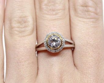 14kt White & Yellow Gold 6.5mm Round Engagement Ring Mounting