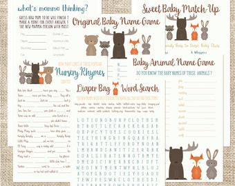 Baby Shower Game Pack Woodland Animals