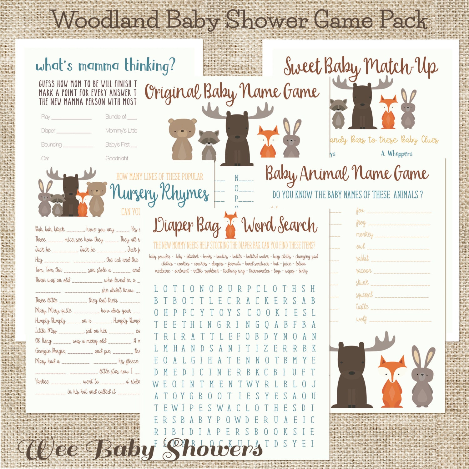 Baby Shower Game Name The Baby Animal: Baby Shower Game Pack Woodland Animals