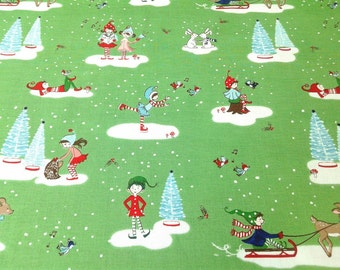 Christmas Fabric, Pixie Noel, Bright Green Novelty Print Elf Fabric, Whimsical Winter, Cute Holiday material, by the yard, half yard