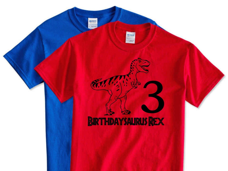 Kids dinosaur birthday shirts birthdaysaurus rex 3 years old for Made to order shirts online