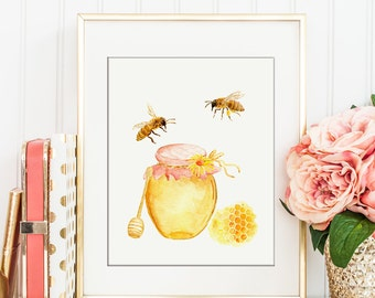 Watercolor bee keeping, honey bees, honeycomb and honey jar print for Instant Download, printable, kitchen decor, art print, bee printable