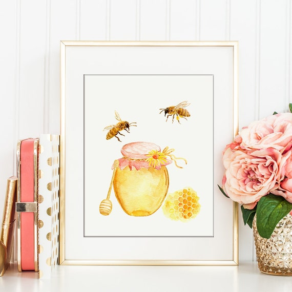 Https Www Etsy Com Listing 293870169 Watercolor Bee Keeping Honey Bees
