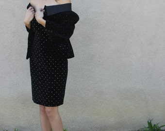 Designer Angelo Tarlazzi Vintage, Parisian Black and Gold Dress and Jacket Set
